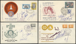 TOPIC ROTARY: 4 Covers Of Rotary Districts Of Argentina, With Special Postmarks And Signatures, VF Quality! - Rotary, Lions Club