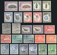 ADEN: Yvert 48/62A, 1953/8 Ships, Animals, Landscapes, Etc. Cmpl. Set Of 25 Values, Mint Very Lightly Hinged (they Appea - Aden (1854-1963)