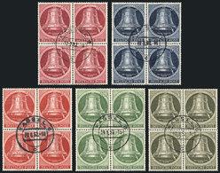 GERMANY - BERLIN: Yvert 68/72, 1952 Liberty Bell, Cpml. Set Of 5 Values In Used BLOCKS OF 4, Excellent Quality, Yvert Ca - [5] Berlin