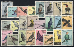 ANGOLA: Sc.333/356, 1951 Birds, Complete Set Of 24 Values, MNH, Fresh And Excellent (Sc.348/9 With Hinge Mark, The Rest  - Angola