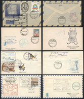 ARGENTINE ANTARCTICA: 19 Covers Or Cards Flown Between Different Cities Of Argentina And Various Antarctic Bases, Severa - Briefmarken