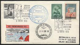 ARGENTINE ANTARCTICA: 9/JA/1973 Tourist Cruises To Antarctica, FIRST TRIP Of The Cruiser Libertad, With Special Handstam - Briefmarken