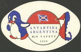 ARGENTINE ANTARCTICA: Luggage Label Of The First Tourist Cruise Trip To Argentine Antarctica In 1959 By Ship Yapeyú, Ver - Otros