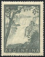 ARGENTINA: GJ.1053SG, 5P. Iguazú Falls, PRINTED ON GUM Variety, Excellent Quality! - Argentina