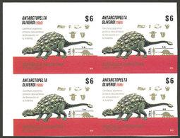 ARGENTINA: GJ.4079P, 2015 Dinosaurs In Antarctica, IMPERFORATE BLOCK OF 4, VF Quality! - Argentina