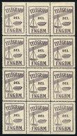 ARGENTINA: Old Telegram Seal Of F.N.G.B.M. Railway, Block Of 12, Mint No Gum, VF Quality, Rare! - Telegraph