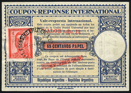 ARGENTINA: IRC Of 65c. Papel With 3 Overprints, One With Stamp Of 4P. San Martin, VF Quality! - Altri