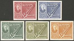 ARGENTINA: Impuesto Sanitario, 5 PROOFS Of Revenue Stamps For Tonic, VF Quality! - Argentina