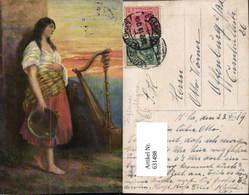 631498,Künstler Ak Sinti Roma Mignon Zigeuner Harfe - Ansichtskarten