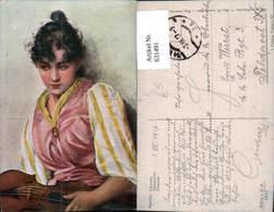 631491,Künstler Ak Cikanka Sinti Roma Mignon Zigeuner Geige - Ansichtskarten