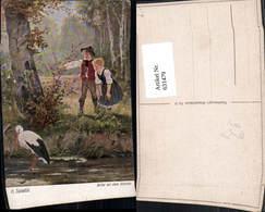 631479,Künstler Ak H. Salentin Bitte An Den Storch Kinder Tiere - Tierwelt & Fauna