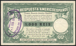 BRAZIL: 1000Rs. Americo-Español Reply Coupon Of The Year 1938, Very Rare! - Altri