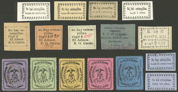 """COLOMBIA: Interesting Lot Of """"emergency"""" Stamps For Shortage Of Postage Stamps, VF General Quality!"""" - Colombia"""