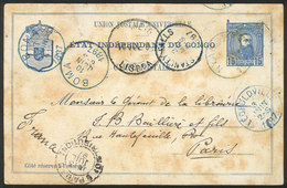 CONGO: 15c. Postal Card Sent From NYANGWÉ To Paris On 23/AP/1897, With Transit Marks Of: STANLEY FALLS (3/MAY), Leopoldv - Congo - Kinshasa