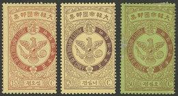 KOREA: Yvert 43/45, 1903 Falcon 15c., 20c. And 50c., Mint, VF Quality! - Korea (...-1945)