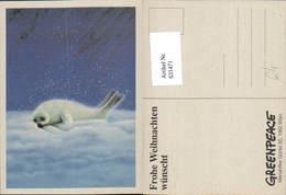 631471,Babyrobbe Robbe I. Schnee Greenpeace Weihnachtskarte Tiere - Tierwelt & Fauna