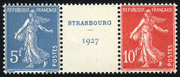 FRANCE: Sc.241a + 241b, 1927 Strasbourg Philatelic Expo, The Set Of 2 Values In Strip With Central Cinderella, From The  - France