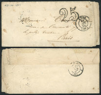 """FRANCE: Entire Letter Dated 21/OC/1851 To Paris, With """"25"""" Mark And Handstamped LYON 22/OC/1852 (ERROR In The Year), Wit - Unclassified"""