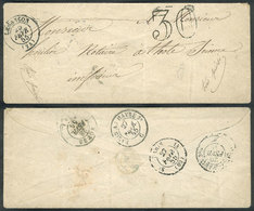 FRANCE: Small Cover Sent From Besancon To Totes On 25/FE/1855, With Good Postal Markings On Front And Reverse! - France