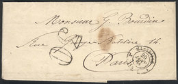 FRANCE: Folded Cover Sent From MARSEILLE To Paris On 20/JA/1864, Excellent Quality! - France