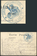 FRANCE: Postcard Sent To Candies De Fenoullet On 3/AU/1918, With Military Free Frank And Interesting Blue Mark: CONVOIS  - France