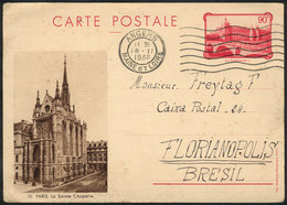 FRANCE: Illustrated 90c. Postal Card (view Of A Church In Paris) Sent To Brazil On 18/FE/1936, VF! - France
