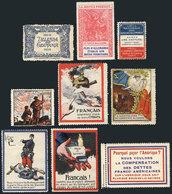 FRANCE: 9 Old Patriotic Cinderellas, Very Colorful And Interesting Group! - Cinderellas