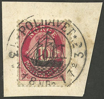 NORWAY: 10o. Stamp On Fragment Of A Postcard With 1917 Cancel Of A POLAR EXPEDITION, Excellent Quality! - Norway