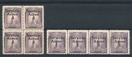 """PERU: Yvert 1, """"El Marinerito"""", 1927 50c., Block Of 4 Of FIRST PRINTING And Strip Of 4 Of The SECOND Printing, VF Qualit - Peru"""