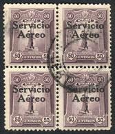 "PERU: Yvert 1, ""El Marinerito"", 1927 50c. SECOND PRINTING, Very Rare Used BLOCK OF 4, Excellent Quality!"" - Peru"