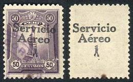 PERU: Yvert 1, 1927 50c. With DOUBLE OVERPRINT Variety, One On Back, Used, VF, Extremely Rare! - Peru