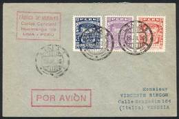 PERU: Yvert 271/2 + A.3, 1932 Piura 400th Anniv., Complete Set Of 3 Values On A Cover Flown From Lima To Italy On 28/JUL - Peru
