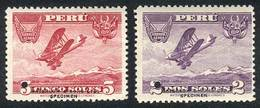 PERU: Yvert 4/5, 1934 Biplane, Set Of 2 Values, Proofs In Different Colors With Little Punch Hole On The Left Face Value - Peru