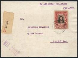 PERU: Registered Airmail Cover Franked By Yvert 28 (10S. Santa Rosa De Lima) + Other Values, Sent From Lima To Paris On  - Peru