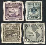 PERU: Yvert 45/48, 1937 Aviation Conference, Compl. Set Of 4 Values Overprinted MUESTRA, VF Quality! - Peru