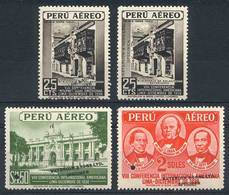 """PERU: Yvert 62/64, 1938 Panamerican Congress, 4 Stamps With Little Punch Cancel And Overprinted """"WATERLOW & SONS LTD - S - Peru"""