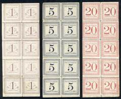 PERU: Sc.Q1 + Q3 + Q5, 1897, 1c. Light Lilac, 5c. Dark Blue And 20c. Rose Red, COMPLETE SHEETS Of 10 Examples, Very Fine - Peru