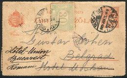 ROMANIA: Front Of A Lettercard Sent From Budapest (Hungary) To Belgrade (Yugoslavia) On 21/JUN/1909 And Forwarded To Buc - Romania