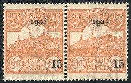 SAN MARINO: Yvert 40 + 46a, 1905 Provisional Of 15c., Pair With Both Overprint Types, VF Quality! - San Marino