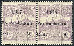 SAN MARINO: Sc.B2, 1917 Pro-Combattenti 50c. On 2L. Violet, Mint Pair Of Very Fine Quality, Catalogue Value US$120. - San Marino