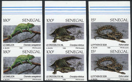 SENEGAL: Yv.894/7 (without 895), 1991 Fauna, 3 Values Of The Set Of 4, IMPERFORATE PAIRS, VF Quality! - Senegal (1960-...)