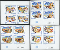 SENEGAL: Yvert 968/971, 1992 Fish Industry, Complete Set Of 4 Values In IMPERFORATE BLOCKS OF 4, Excellent Quality! - Senegal (1960-...)