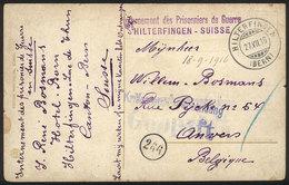 SWITZERLAND: PC Sent By A Belgian PRISONER OF WAR Soldier From Hilterfingen (Bern) To Belgium, With Interesting CENSOR M - Switzerland