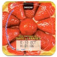 "Opercule Cover Yaourt Yogurt "" Danone "" Fraises Strawberries Yoghurt Yoghourt Yahourt Yogourt - Opercules De Lait"