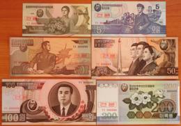 North Korea DPRK 1-200 Won 1992-2005 UNC Specimens - Corea Del Nord