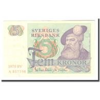 Billet, Suède, 5 Kronor, 1978, 1978, KM:51d, TTB - Schweden