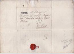 DEPARTEMENTS CONQUIS- ROME - 1877- LETTRE DE ROME POUR PARIS- CURSIVE- RECT/VERSO - 1701-1800: Precursors XVIII