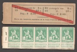 Carnet A10a  Couvrture Détachée, Manque 1 Timbre De 5c - Booklets 1907-1941