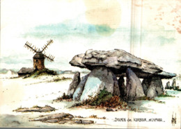 Dolmen De Kerbour St Lyphar Aquarelle Originale De Robert Lepine 1986    CPM Ou CPSM - Saint-Lyphard