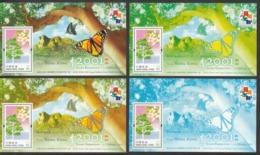 Hong Kong 2001, Stamp Exhibition, Set Of 4 S/S, MNH** - Vlinders
